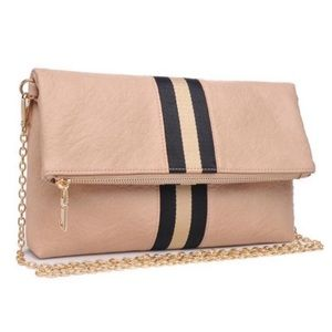 Moda Luxe Natural Color Julis Fold Over Clutch NWT
